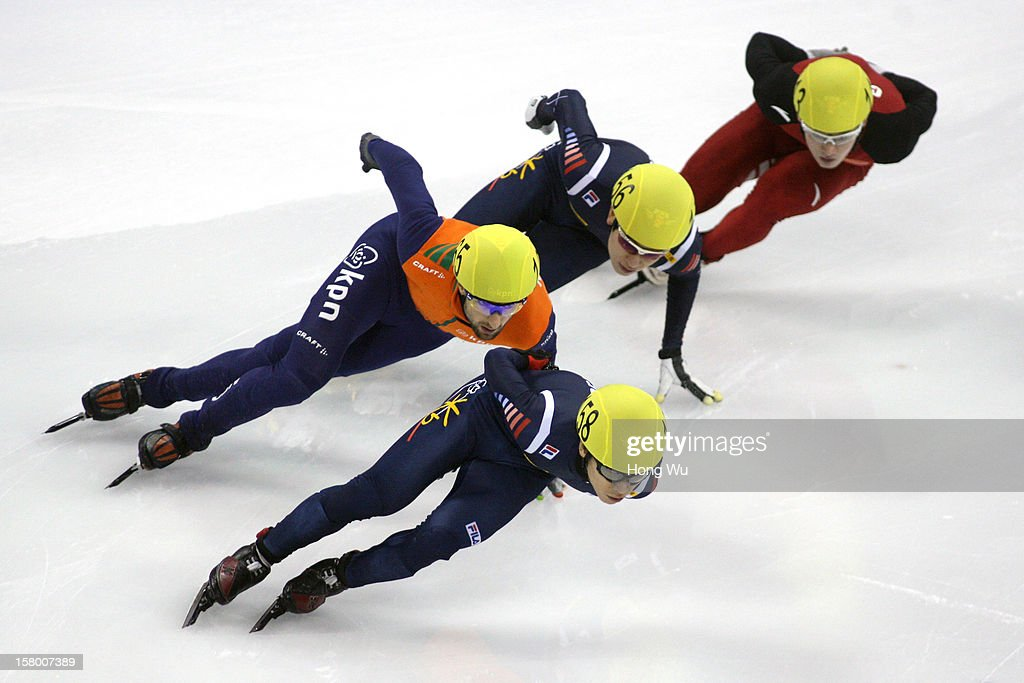 Niels Kerstholt of Netherlands, Byeong-Jun Kim of Korea, Yoon-Gy Kwak of Korea, Wenhao Liang of China compete in the Men's 1000m Final during the day one of the ISU World Cup Short Track at the Oriental Sports Center on December 8, 2012 in Shanghai, China.