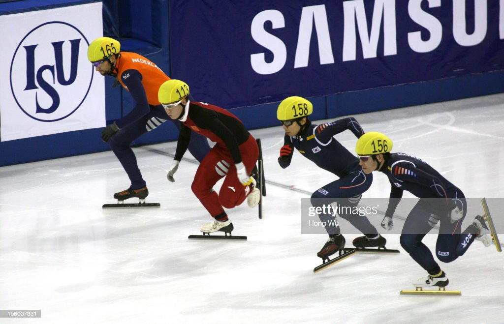 Niels Kerstholt of Netherlands, Wenhao Liang of China, Yoon-Gy Kwak of Korea, Byeong-Jun Kim of Korea compete in the Men's 1000m Final during the day one of the ISU World Cup Short Track at the Oriental Sports Center on December 8, 2012 in Shanghai, China.