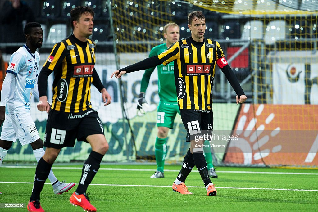 Niels Vorthoren of BK Hacken and Jasmin Sudic of BK Hacken in action during the Allsvenskan match between BK Hacken and Gefle IF at Bravida Arena on April 28, 2016 in Gothenburg, Sweden.