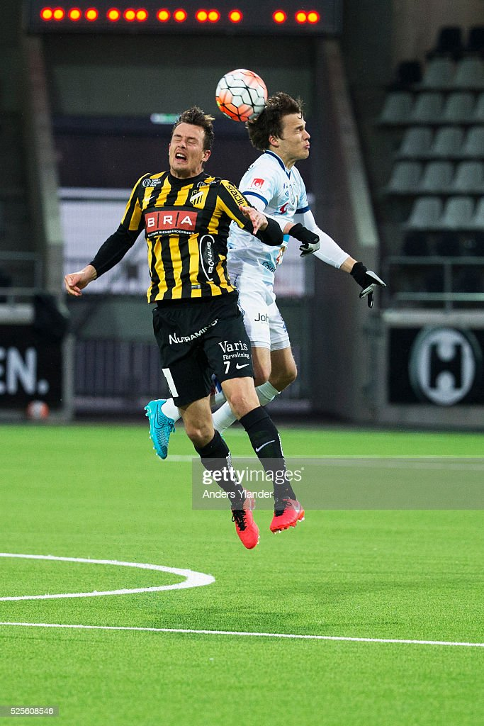 Niels Vorthoren of BK Hacken and Simon Skrabb of Gefle IF competes for the ball during the Allsvenskan match between BK Hacken and Gefle IF at Bravida Arena on April 28, 2016 in Gothenburg, Sweden.