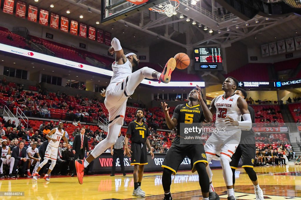 Niem Stevenson #10 of the Texas Tech Red Raiders dunks the basketball during the game against the Kennesaw State Owls on December 13, 2017 at United Supermarkets Arena in Lubbock, Texas. Texas Tech defeated Kennesaw State 82-53.