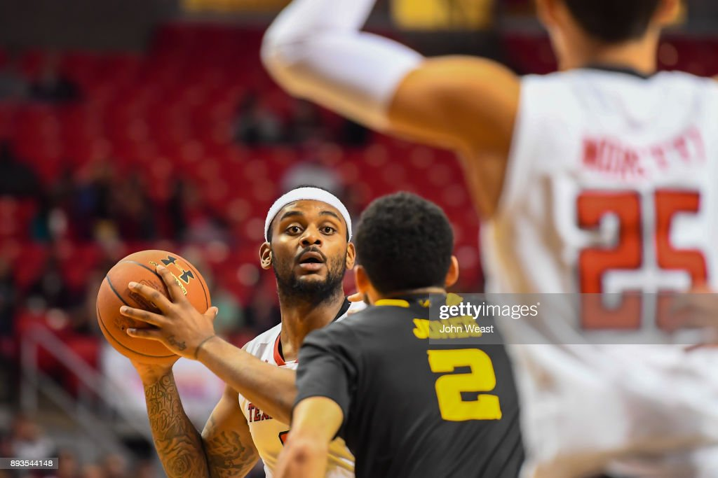 Niem Stevenson #10 of the Texas Tech Red Raiders looks to pass the ball during the game against the Kennesaw State Owls on December 13, 2017 at United Supermarkets Arena in Lubbock, Texas. Texas Tech defeated Kennesaw State 82-53.