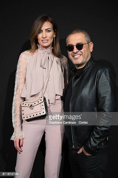 Nieves Alvarez and fashion designer Elie Saab pose backstage prior the Elie Saab show as part of the Paris Fashion Week Womenswear Spring/Summer...