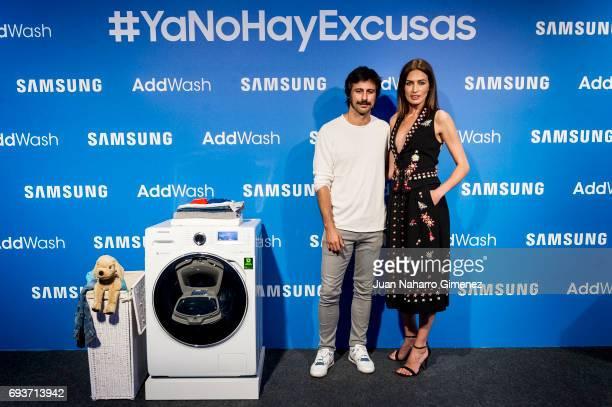 Nieves Alvarez and Hugo Silva present Samsung Adwash at Neptuno Palace on June 8 2017 in Madrid Spain