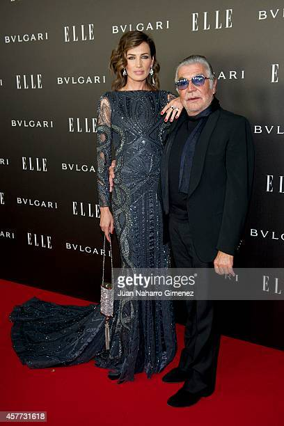 Nieves Alvarez and Roberto Cavalli attend Elle Style Awards 2014 photocall at Italian Embassy on October 23 2014 in Madrid Spain