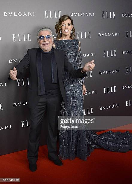 Nieves Alvarez and Roberto Cavalli attend the Elle Style Awards party at the Italian Embassy on October 23 2014 in Madrid Spain