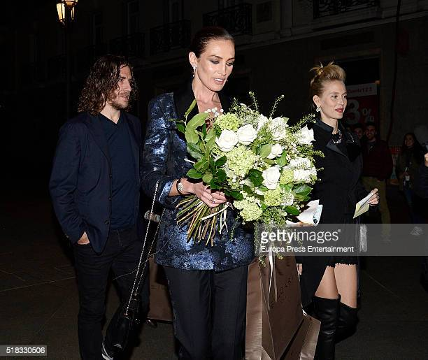 Nieves Alvarez Carles Puyol and Vanessa Lorenzo attend BvlgariHarper's Bazaar party at Reina Sofia Museum on March 30 2016 in Madrid Spain