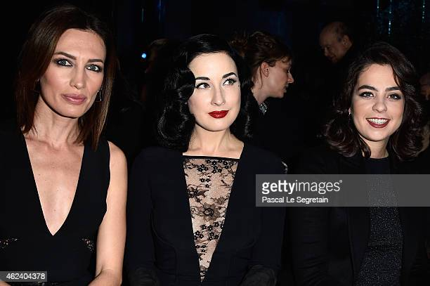 Nieves Alvarez Dita Von Teese and Anouchka Delon attend the Elie Saab show as part of Paris Fashion Week Haute Couture Spring/Summer 2015 on January...