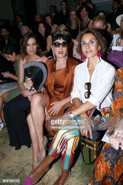 Nieves Alvarez Rossy de Palma and Naty Abascal attend the Elie Saab Haute Couture Fall/Winter 20172018 show as part of Haute Couture Paris Fashion...