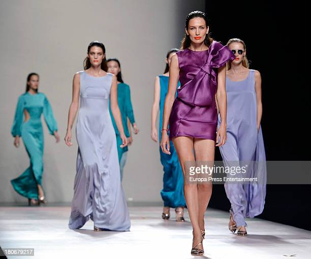 Nieves Alvarez showcases designs by Duyos on the runway at Duyos show during Mercedes Benz Fashion Week Madrid Spring/Summer 2014 at Ifema on...