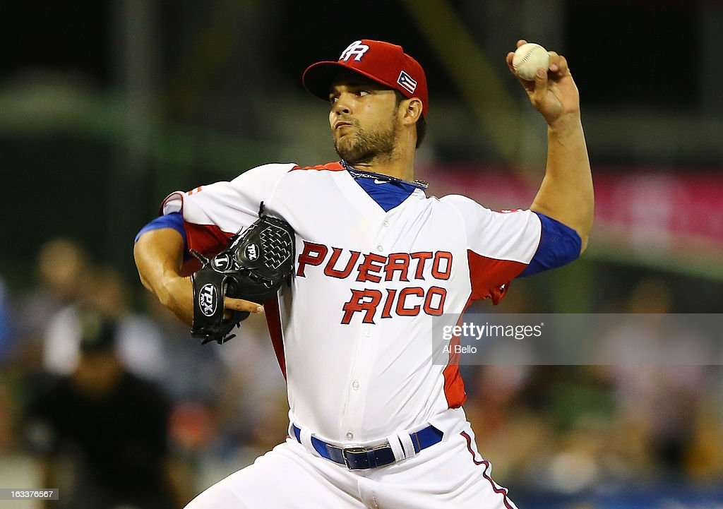 Nieves Efrain #55 of Puerto Rico pitches against Spain during the first round of the World Baseball Classic at Hiram Bithorn Stadium on March 8, 2013 in San Juan, Puerto Rico.