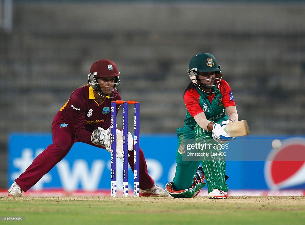 Nigar Sultana of Bangladesh in action with <a gi-track='captionPersonalityLinkClicked' href=/galleries/search?phrase=Merissa+Aguilleira&family=editorial&specificpeople=5740699 ng-click='$event.stopPropagation()'>Merissa Aguilleira</a> of the West Indies during the Women's ICC World Twenty20 India 2016 Group B match between West Indies and Bangladesh at the Chidambaram Stadium on March 20, 2016 in Chennai, India.