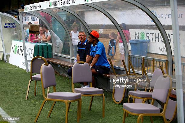 Nigel Adkins manager of Reading and Gareth McCleary prior to the match against Wycombe Wanderers at Adams Park on July 26 2014 in High Wycombe England