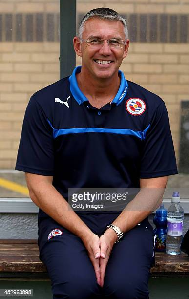 Nigel Adkins manager of Reading prior to the match against Wycombe Wanderers at Adams Park on July 26 2014 in High Wycombe England