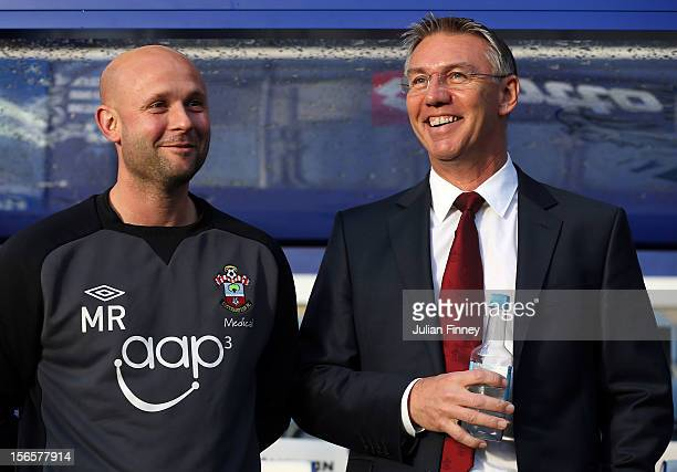 Nigel Adkins manager of Southampton and Matt Radcliffe look on before the Barclays Premier League match between Queens Park Rangers and Southampton...
