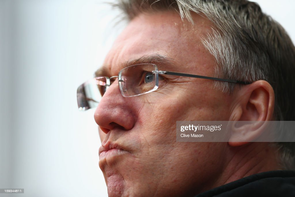 Nigel Adkins of Southampton is seen before the Barclays Premier League match between Aston Villa and Southampton at Villa Park on January 12, 2013 in Birmingham, England.