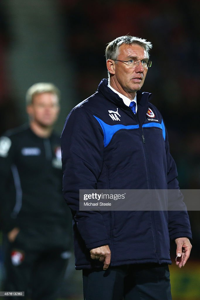 <a gi-track='captionPersonalityLinkClicked' href=/galleries/search?phrase=Nigel+Adkins&family=editorial&specificpeople=4015297 ng-click='$event.stopPropagation()'>Nigel Adkins</a> the manager of Reading looks on as his team head towards a 0-3 defeat during the Sky Bet Championship match between AFC Bournemouth and Reading at Goldsands Stadium on October 21, 2014 in Bournemouth, England.