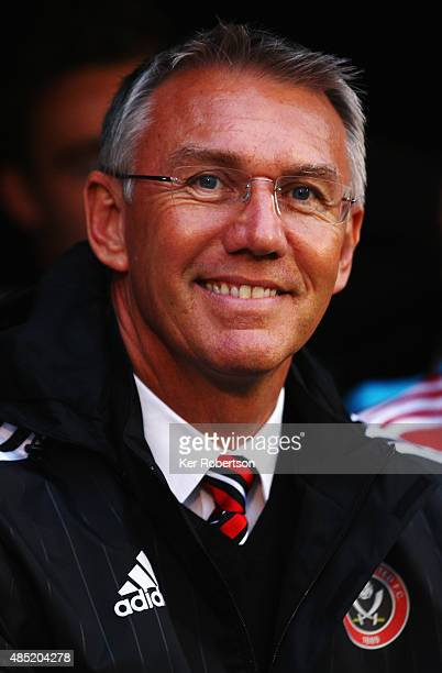Nigel Adkins the Sheffield United managerlooks on before the Capital One League Cup Second Round match between Fulham and Sheffield United at Craven...
