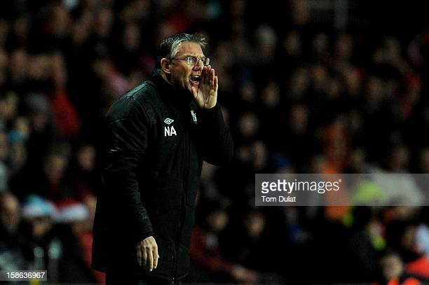 Nigel Adkins the Southampton manager directs his players during the Barclays Premier League match between Southampton and Sunderland at St Mary's...