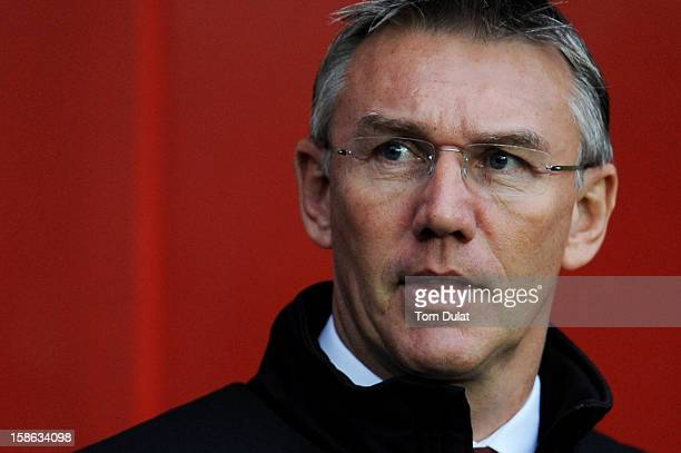 Nigel Adkins the Southampton manager looks on during the Barclays Premier League match between Southampton and Sunderland at St Mary's Stadium on...