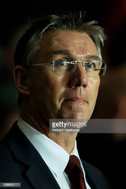 Nigel Adkins the Southampton manager looks on during the Barclays Premier league match between Southampton and Arsenal at St Mary's Stadium on...