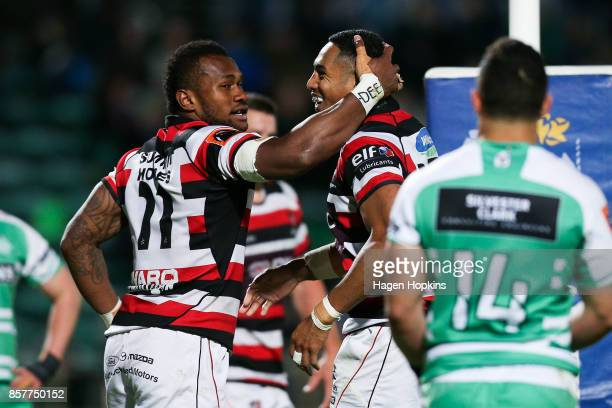 Nigel Ah Wong of Counties Manukau celebrates his try with teammate Tevita Nabura during the round eight Mitre 10 Cup match between Manawatu and...