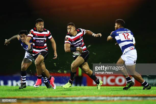 Nigel Ah Wong of Counties Manukau makes a break during the round one Mitre 10 Cup match between Counties Manukau and Auckland at ECOLight Stadium on...