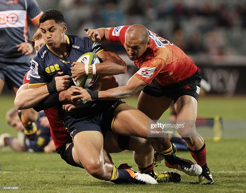 Nigel Ah Wong of the Brumbies is tackled during the round 14 Super Rugby match between the Brumbies and the Sunwolves at GIO Stadium on May 28, 2016 in Canberra, Australia.