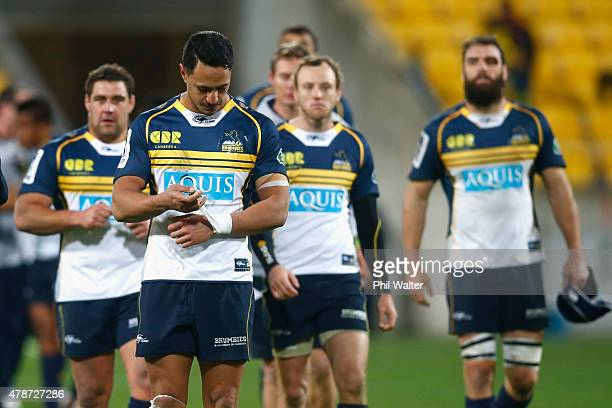 Nigel Ah Wong of the Brumbies leaves the field dejected following the Super Rugby Semi Final match between the Hurricanes and the Brumbies at Westpac...