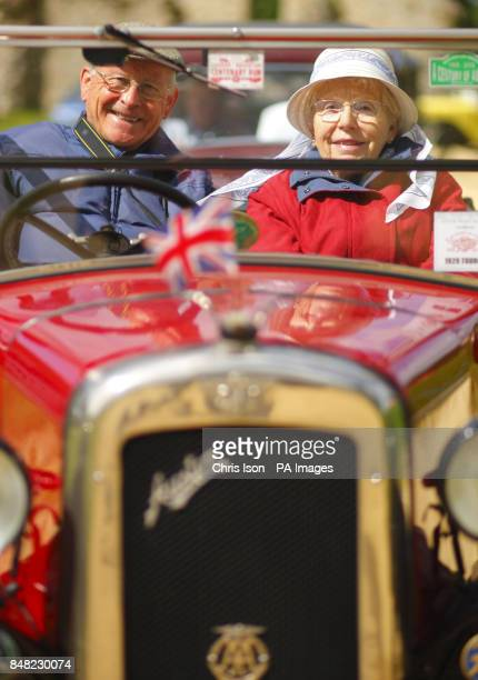 Nigel and Jill Offer from the Isle of Wight in their 1929 'Chummy' Tourer arrive at the 50th Austin Seven rally at the National Motor Museum in...