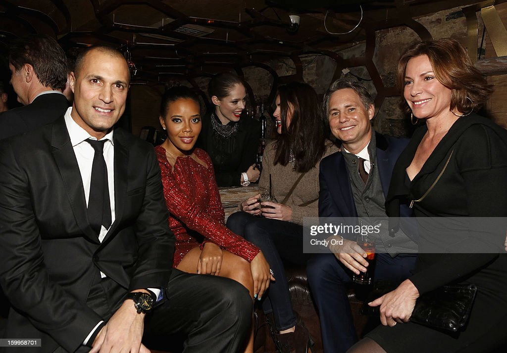Nigel Barker, Angela Simmons, Coco Rocha, Hilary Rhoda, Jason Binn and LuAnn de Lesseps attend DuJour Magazine Gala with Coco Rocha and Nigel Barker presented by TW Steel at Scott Sartiano and Richie Akiva's The Darby on January 23, 2013 in New York City.