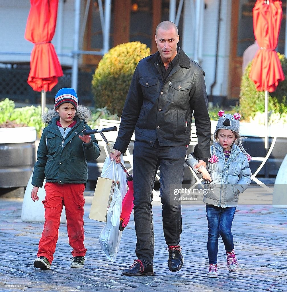 Nigel Barker, Jack Barker and Jasmine Barker are seen in the Meat Packing District on January 4, 2013 in New York City.