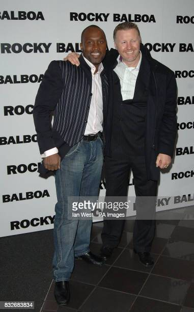 Nigel Benn and Steve Collins arrive for the UK Premiere of Rocky Balboa at the Vue Leicester Square in central London