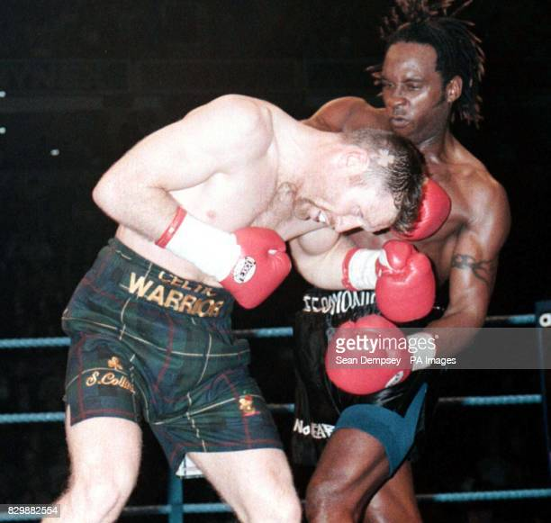 Nigel Benn and Steve Collins battle it out in the first round of the WBO Super Middleweight fight at the Nynex Areana Manchester tonight Photo by...