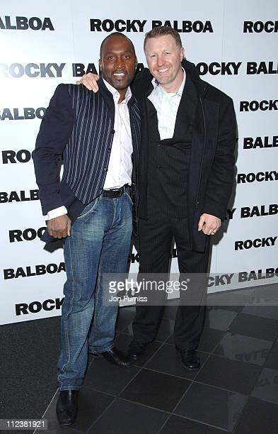 Nigel Benn and Steve Collins during 'Rocky Balboa' London Premiere Inside Arrivals at Vue West End in London United Kingdom