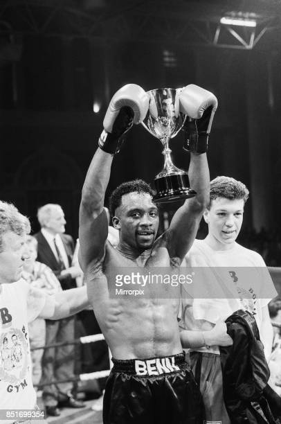 Nigel Benn vs Abdul Umaru Sanda at Alexandra Pavilion London Benn stopped his opponent in the second round Benn holding up the Commonwealth...