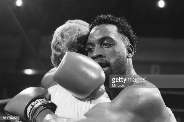 Nigel Benn vs Fermin Chirino at York Hall Bethnal Green London Benn stopped his opponent in the second round Nigel Benn hugging trainer after his win...