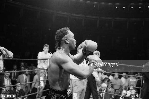 Nigel Benn vs Tim Williams at Royal Albert Hall London Benn stopped his opponent in the second round Benn acknowledges the crowd after his win 28th...