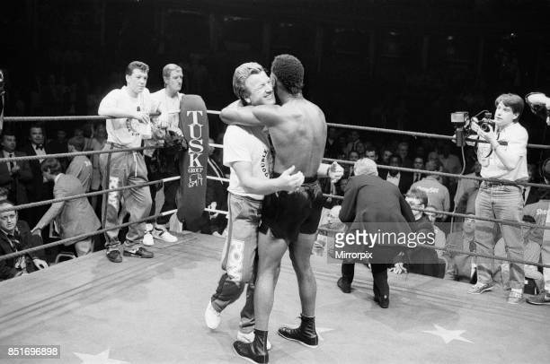 Nigel Benn vs Tim Williams at Royal Albert Hall London Benn stopped his opponent in the second round Benn hugs his trainer after his victory 28th May...