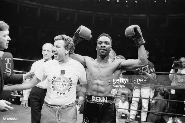 Nigel Benn vs Tim Williamso at Royal Albert Hall London Benn stopped his opponent in the second round Benn with trainer and Barry Hearn after his...