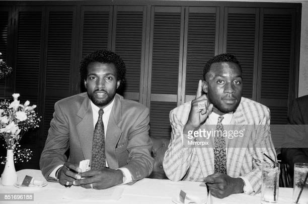 Nigel Benn with manager Ambrose Mendy 6th July 1988