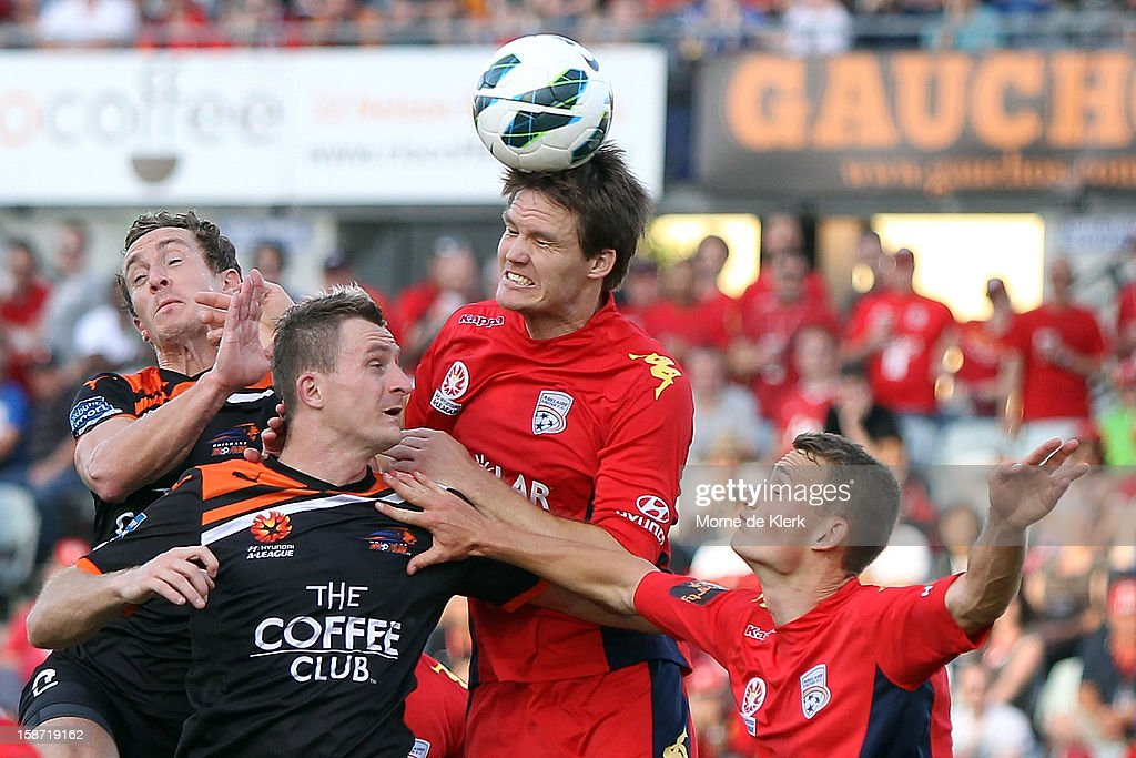Nigel Boogaard of Adelaide defends during the round 13 A-League match between Adelaide United and the Brisbane Roar at Hindmarsh Stadium on December 26, 2012 in Adelaide, Australia.