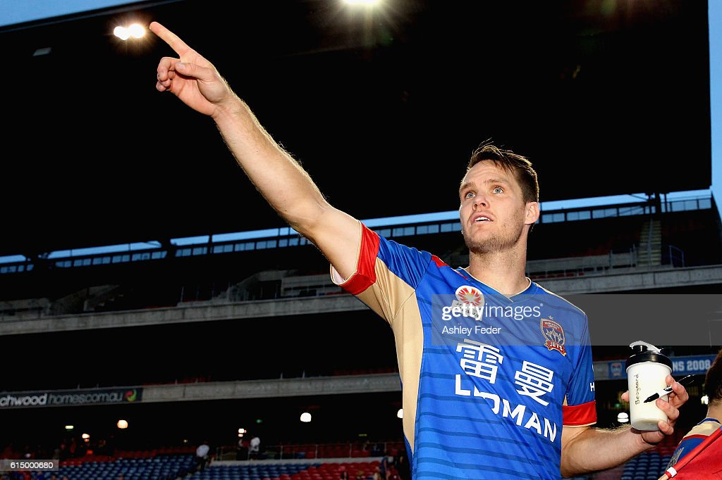Nigel Boogaard of the Jets celebrates the win during the round two A-League match between the Newcastle Jets and the Brisbane Roar at Hunter Stadium on October 16, 2016 in Newcastle, Australia.