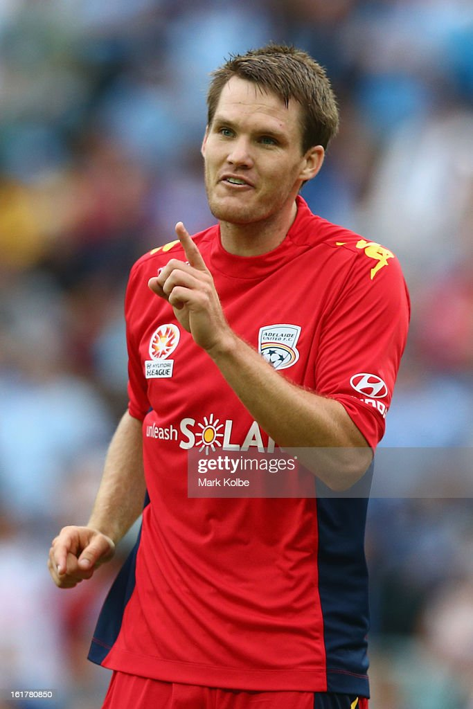 Nigel Boogaard of United makes his point to the linesperson during the round 21 A-League match between Sydney FC and Adelaide United at Allianz Stadium on February 16, 2013 in Sydney, Australia.