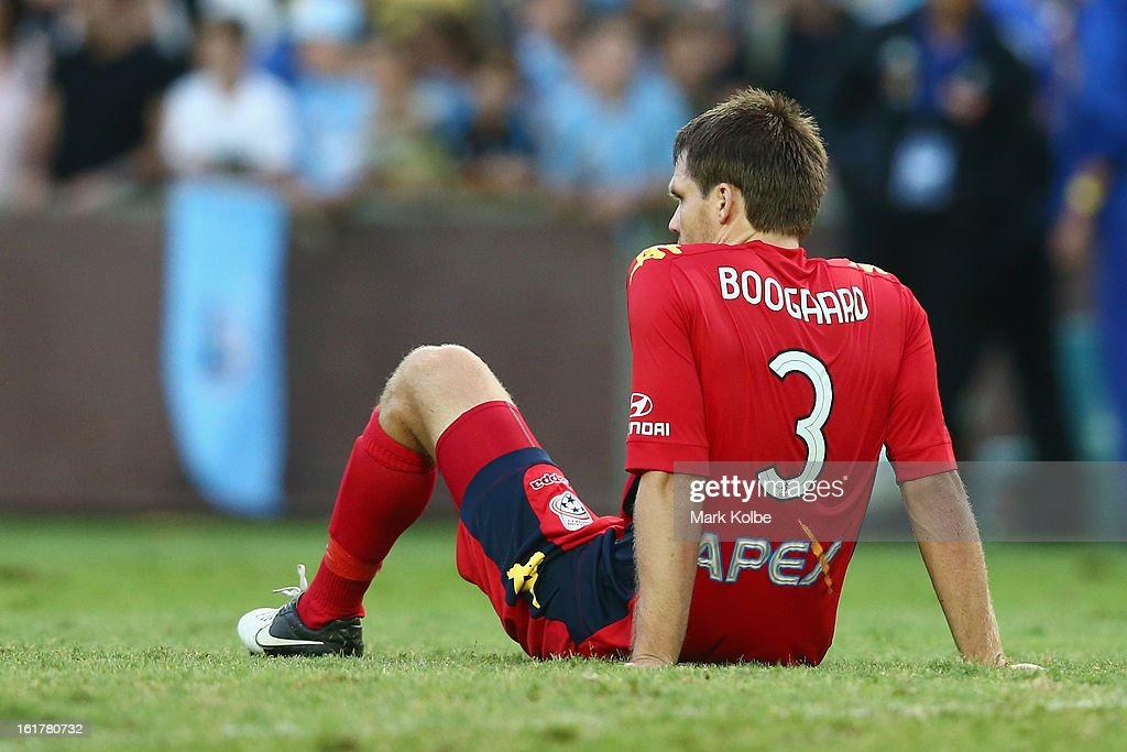 Nigel Boogaard of United sits dejected after their defeat during the round 21 A-League match between Sydney FC and Adelaide United at Allianz Stadium on February 16, 2013 in Sydney, Australia.