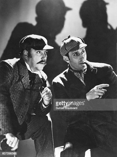 Nigel Bruce and Basil Rathbone on the set of 'The Hound of Bakersville'
