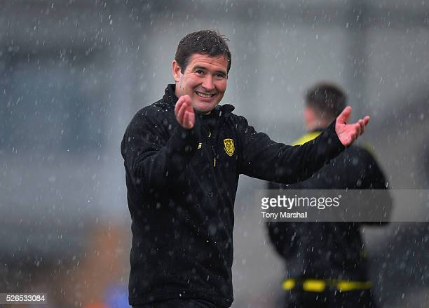 Nigel Clough Manager of Burton Albion applauds the fans at the end of the Sky Bet League One match between Burton Albion and Gillingham at Pirelli...