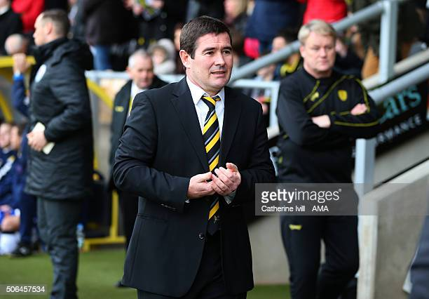 Nigel Clough manager of Burton Albion during the Sky Bet League One match between Burton Albion and Shrewsbury Town at Pirelli Stadium on January 23...