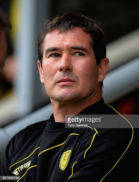 Nigel Clough Manager of Burton Albion during the Sky Bet League One match between Burton Albion and Gillingham at Pirelli Stadium on April 30 2016 in...