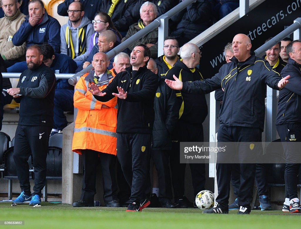Nigel Clough, Manager of Burton Albion encourages his team during the Sky Bet League One match between Burton Albion and Gillingham at Pirelli Stadium on April 30, 2016 in Burton-upon-Trent, England.
